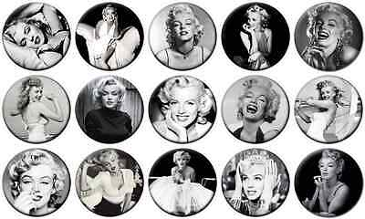 "MARILYN MONROE - Lot of 15 - Pin Back - 1"" Buttons Badges (One Inch) – Set B"