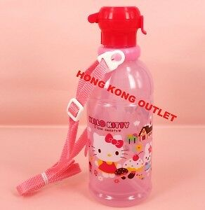 Sanrio Hello Kitty Water Bottle 400ml with Straw Japan Made   G35a