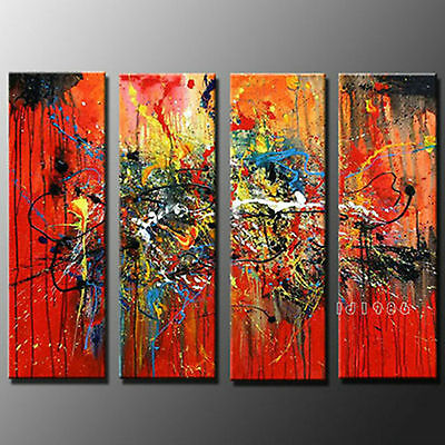 MODERN ABSTRACT HUGE WALL DECOR ART OIL PAINTING ON CANVAS 4PC (no framed)