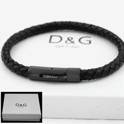 "DG Men's 8""Stainless-Steel,Gold Silver Black Braided.Leather Bracelet Unisex.BOX"