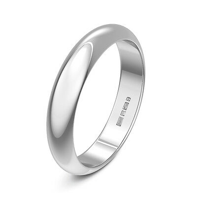Brand New 9ct White Gold D Shaped Heavy Plain Wedding Ring Band