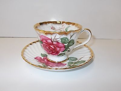 Fine English Bone China Cup and Saucer- Adderly Symphonie Red Rose No Chips