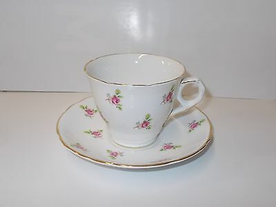 Fine English Bone China Cup and Saucer Set-Royal Kent Small Pink Flowers
