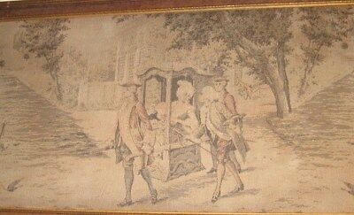 A Large & Splendid Early Antique Tapestry, French Colonial Scene, Framed