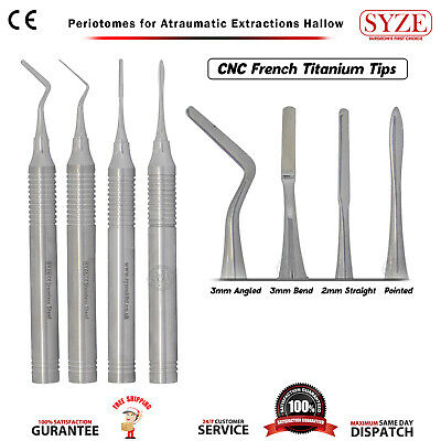 SYZE Periotomes for Atraumatic Extractions Set 4pcs - HOLLOW - Dental Implants