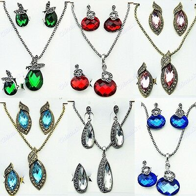 5 Sets Charms Crystal Necklace Earring Rings Three-piece Sets Wholesale Jewelry