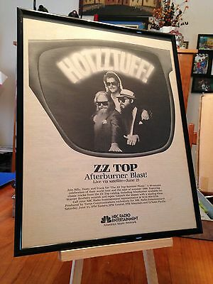 "BIG 14x22 RARE ZZ TOP ""AFTERBURNER"" LP ALBUM CD PROMO AD + FREE FRAMED BONUS AD!"