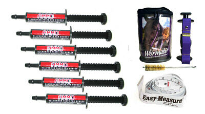 Premium One Year Ammo Horse Pony Wormer Rotation (6) +Wormabit Purple+Weight Tap