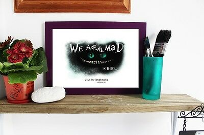 ALICE IN WONDERLAND A4 Poster, CHESHIRE CAT Wall Art Print, We Are All Mad Here