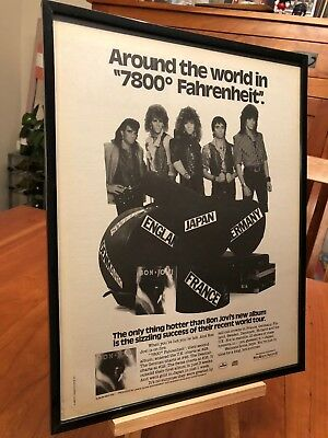 "Big 11X14 Framed Original & Rare Bon Jovi ""7800 Fahrenheit"" Lp Album Cd Promo Ad"