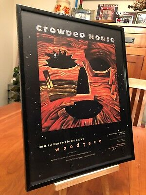 "Big 11X14 Framed Crowded House ""woodface"" Lp Cd + ""chocolate Cake"" 45 Promo Ad"