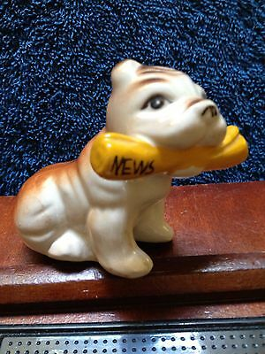 Vintage Bulldog Pug Figurine Holding Newspaper So Sweet!!!