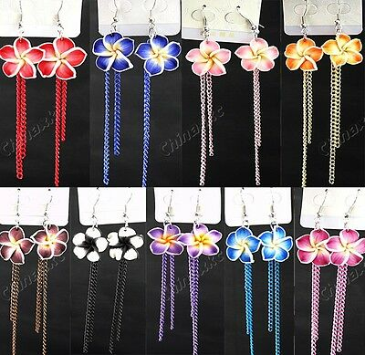 12pairs Polymer Clay Flower Long chain Fashion Drop Earrings Wholesale Jewelry