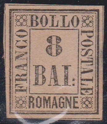 (R9-64) 1859 Roman State stamps  Romagne county  8b black on pink part gum
