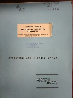 HP 2590A Microwave Frequency Converter Operating & Service Manual 3115E-2