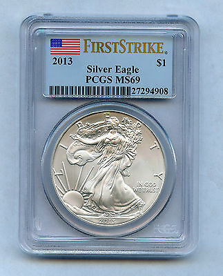 2013 Silver Eagle PCGS Certified MS-69, First Strike Blast White!