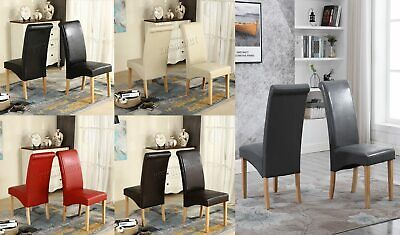Premium Dining Chairs Faux Leather Roll Top Scroll High Back Wood Furniture Set