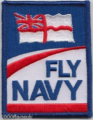 Fly Navy White Ensign Flag Embroidered Crest Badge Patch - MOD Approved