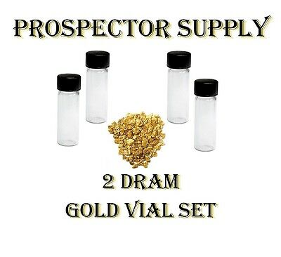 2 DRAM GOLD VIALS - Set of 4 to Display Your Fine and Flour Gold