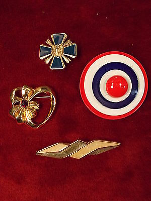 Lot #12 Estate Liquidation Brooches/pins Sandstone Cross, Captain America, Heart