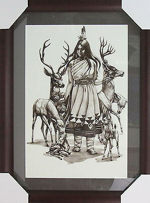 "Jacque Evans ""Deer Mother"" Original Limited Edition Lithograph 48/50 Signed 1977"