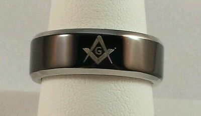 Freemason Stainless Steel Black and Silver Ring (size 12)