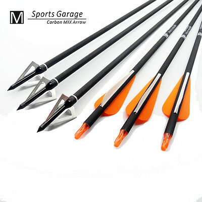 12 Fibreglass Archery  Arrow & 12 Broadheads For Field & Target compound Bow