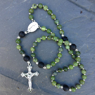 Irish Rosary Beads Connemara Marble With Kilkenny Marble, Gemstone, Religious