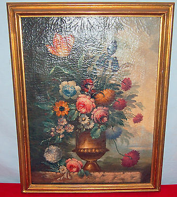 Flowers & Vase Painting Fine & Rare 19Th Century Gorgeous Details /gilt Frame