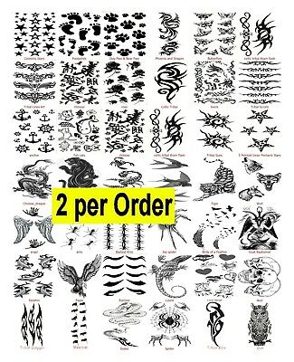 2 Temporary Fake Tattoos Stocking Filler Halloween Transfer  Fancy Dress-Choice