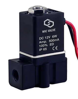 "1/8"" Plastic Direct Acting Fast Closing Electric Air Water Solenoid Valve 12V DC"