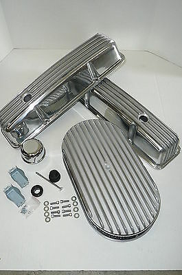 SB Chevy Polished Finned Dress-Up Kit Rat Rod Street Rod Hot Rod V-8 283-327-350
