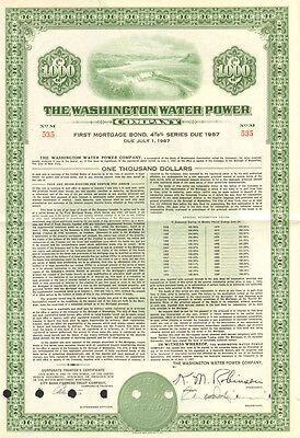 Washington Water Power Company   1957 $1,000 bond certificate