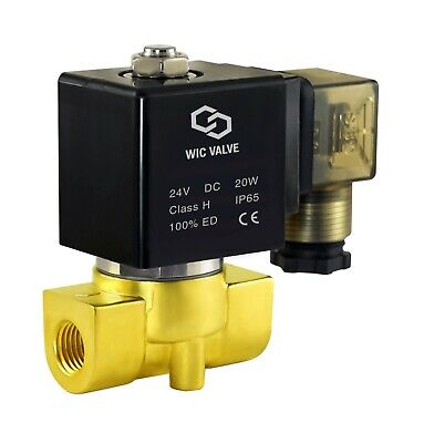 "Brass Electric Air Gas Water Solenoid Valve Normally Closed 24V DC 1/4"" Inch"