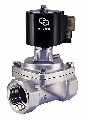 """Stainless Zero Differential Electric Steam Solenoid Valve NC 1.5"""" Inch 220V AC"""