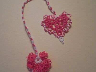 Tatted Bookmark Heart Butterfly New Purple Lilac Cord Lacey Dove Country Tatting