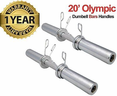 "20"" Olympic 2"" Dumbbell Bars & Spring Collars Set Gym Weight Lifting Handles"