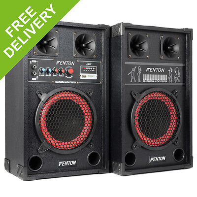 "DJ Disco HIFI Hi Fi Active Home Party Speakers USB SD Mic inputs 8"" Bass Woofer"