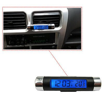 Car Dash Air Vent Mount Digital LCD Clock Thermometer C20 Blue Backlight