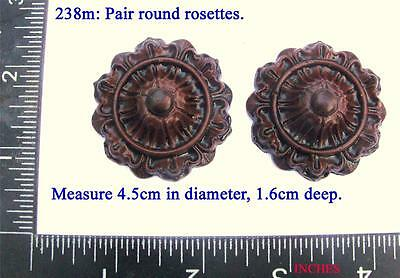 238m Pair of Round Badges for Vienna regulator clock cases,  DIY, embellishments