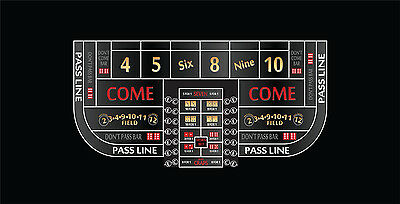 Single dealer casino craps layout 6 to 8 foot 5 colors to choose from