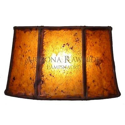 """Southwestern Rawhide - Leather Lamp Shade-7""""Hx13""""Wx11"""" Top - Amber Color"""