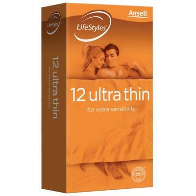 NEW Ansell Lifestyles Ultra Thin Condoms 12 Pack