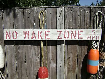 48 Inch Wood Hand Painted No Wake Zone 5Mph Sign Nautical Seafood (#s236)