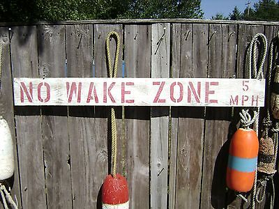 48 Inch Wood Hand Painted No Wake Zone 5Mph Sign Nautical Seafood (#s232)