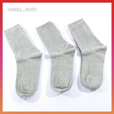 3 Pairs Grey Cotton Unisex Boys Girls Kids School Uniform Sport Socks Sox Sz