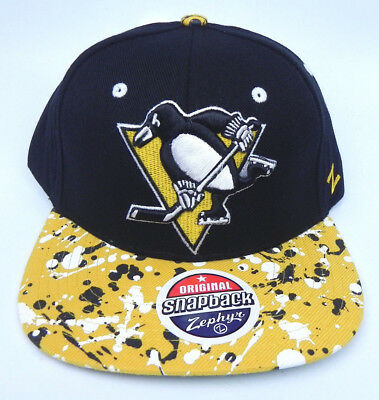 Pittsburgh Penguins Nhl Vintage Splatter Snap Back Retro 2-Tone Z Cap Hat New!