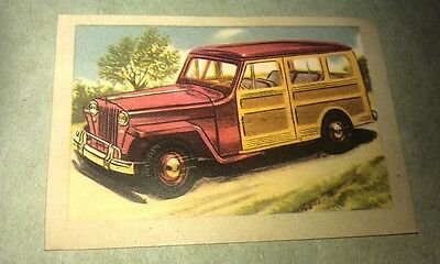 1950 WILLYS JEEP WOODY Jacques Chocolates BELGIUM Trade Swap Card