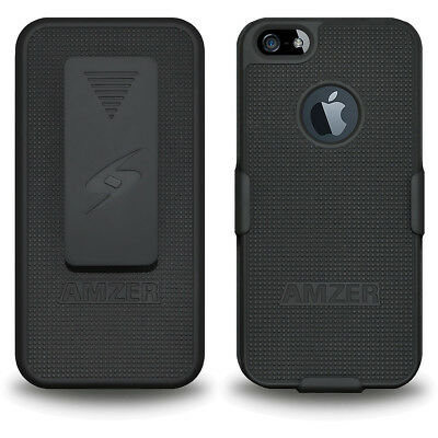NEW AMZER BLACK SHELL CASE & HOLSTER WITH BELT CLIP FOR APPLE iPHONE 5/5S/SE