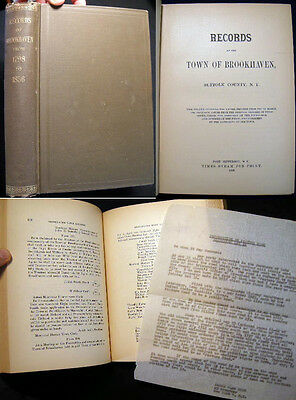 1888 Brookhaven Town Records 1798 - 1856 Long Island History With Ephemera